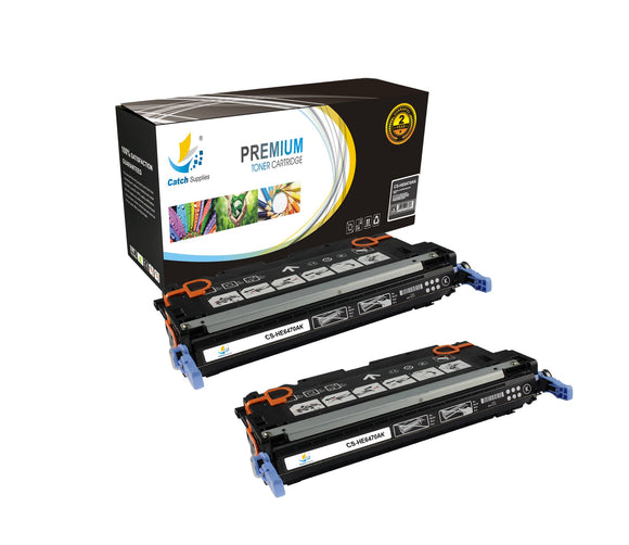 Catch Supplies Replacement Q6470A – 501A Black Toner Cartridge 2 Pack Set