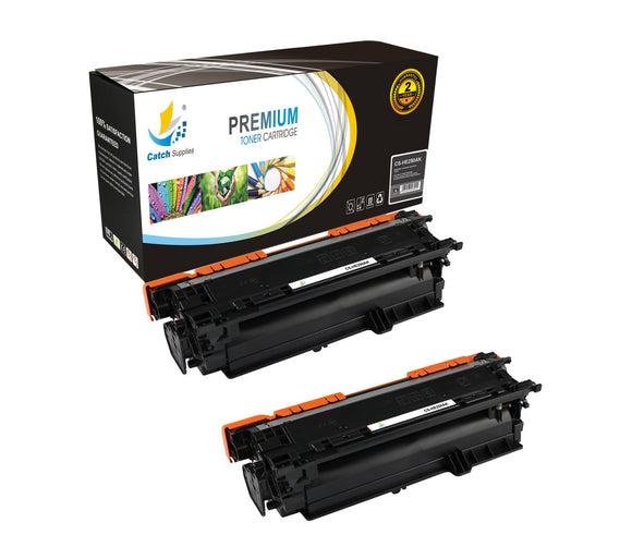 Catch Supplies Replacement HP CE250A Standard Yield Laser Printer Toner Cartridges - Two Pack