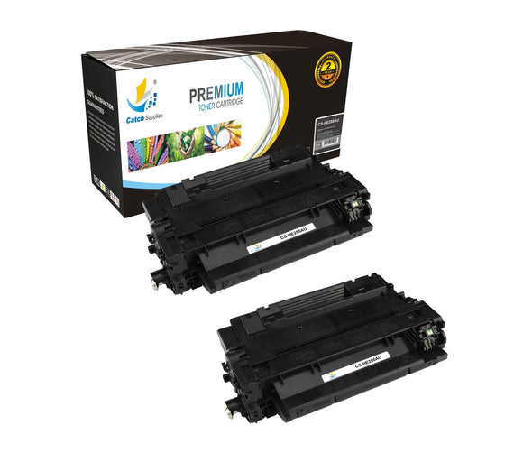 Catch Supplies Replacement CE255A Black Toner Cartridge 2 Pack