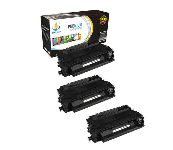 Catch Supplies Replacement HP CE255A Standard Yield Laser Printer Toner Cartridges - Three Pack