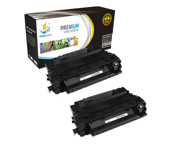 Catch Supplies Replacement HP CE255X High Yield Black Toner Cartridge Laser Printer Toner Cartridges - Two Pack