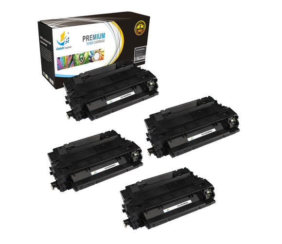 Catch Supplies Replacement HP CE255X High Yield Black Toner Cartridge Laser Printer Toner Cartridges - Four Pack