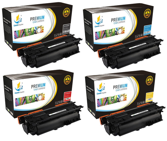 Catch Supplies Replacement HP CE260A,CE261A,CE262A,CE263A High Yield Toner Cartridges Laser Printer Toner Cartridges - Four Pack