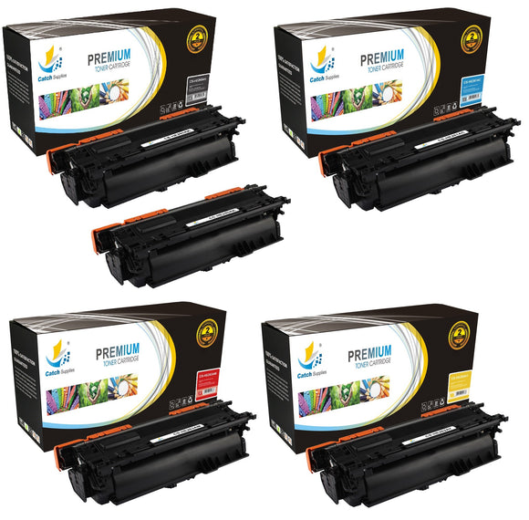 Catch Supplies Replacement HP CE260A,CE261A,CE262A,CE263A High Yield Toner Cartridges Laser Printer Toner Cartridges - Five Pack