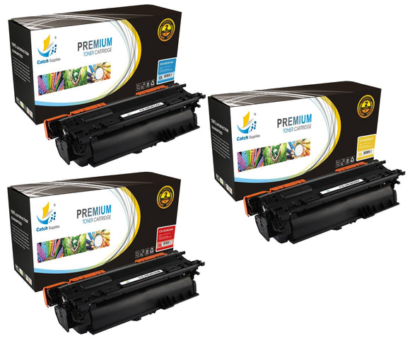 Catch Supplies Replacement HP CE261A,CE262A,CE263A, Standard Yield Laser Printer Toner Cartridges - Three Pack