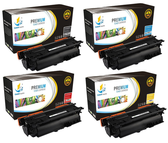 Catch Supplies Replacement HP CE260X,CE261A,CE262A,CE263A High Yield Toner Cartridges Laser Printer Toner Cartridges - Four Pack
