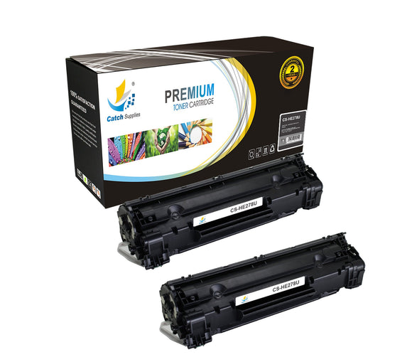 Catch Supplies Replacement HP CE278A Standard Yield Laser Printer Toner Cartridges - Two Pack
