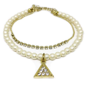 Triangle Crystal Charm Pearl Bracelet