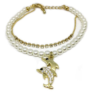 Dolphins Crystal Charm Pearl Bracelet