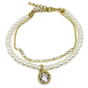 Round Crystal Charm Pearl Bracelet