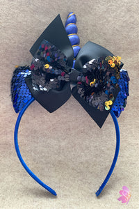 Black & Blue Unicorn Sequins Bow Headband