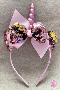 Pink Unicorn Sequins Bow Headband