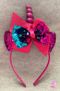Fuchsia Unicorn Sequins Bow Headband