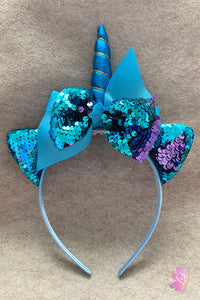 Blue Unicorn Sequins Bow Headband