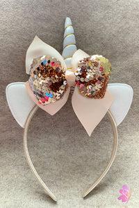 Champagne & White Unicorn Sequins Bow Headband