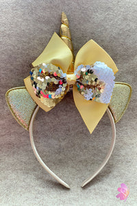 Gold & White Unicorn Sequins Bow Headband
