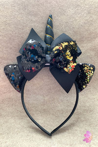 Black & Gold Unicorn Sequins Bow Headband