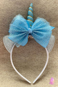Light Blue Unicorn Tulle Bow Headband
