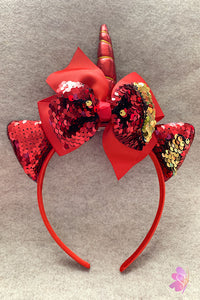 Red Unicorn Sequins Bow Headband