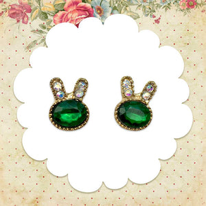 Green Bunny Earrings