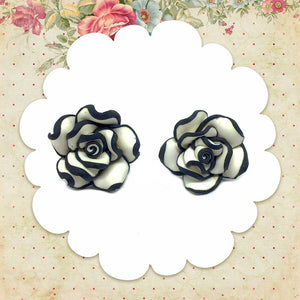 Black & White Rose Earrings