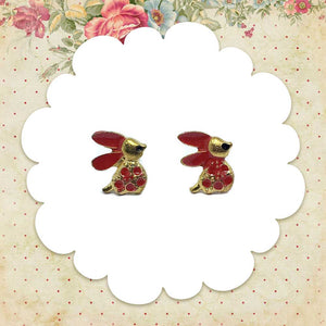 Red Ribbit Earrings