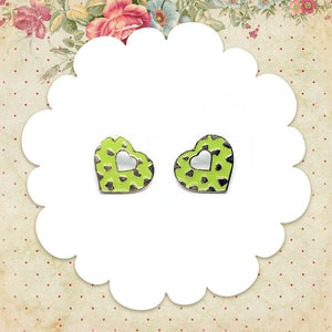 Green Retro Heart Earrings