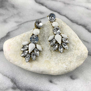 White Gem Statement Drop Earrings