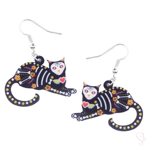 Cat Skeleton Drop Earrings