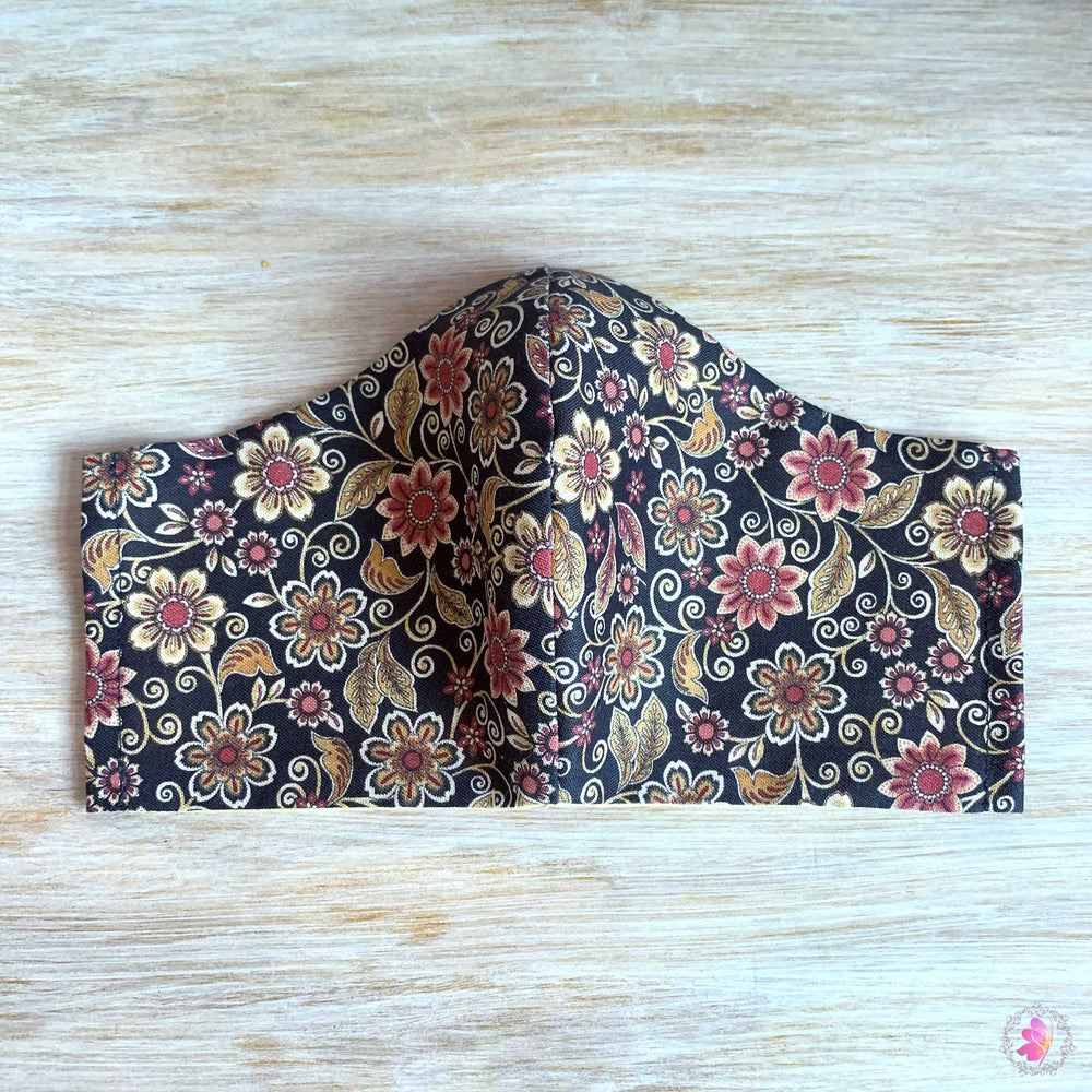 Brown Floral Handmade Fabric Mask