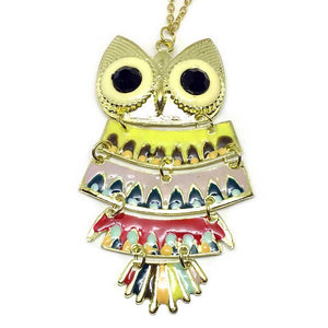 Colorful Owl Long Necklace