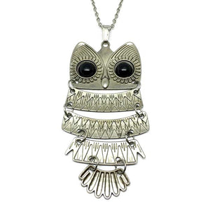 Silver Owl Long Necklace
