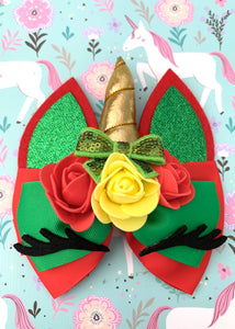 Red & Green Unicorn Layered Hair Bow