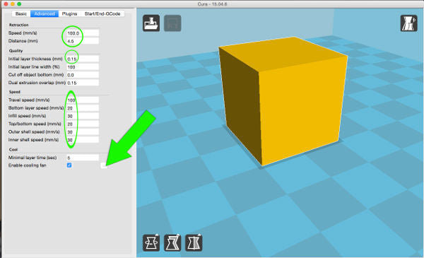 Cura: advanced printing settings