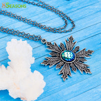 "Mermaid Necklace Antique Silver & Gunmetal Snowflake Blue AB Color 56cm(22"")"