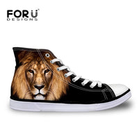 Men's Black High Top Canvas Shoes,3D Lion Print