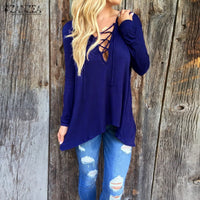 Womens V Neck Bandage Asymmetric Long Sleeve Hooded Top