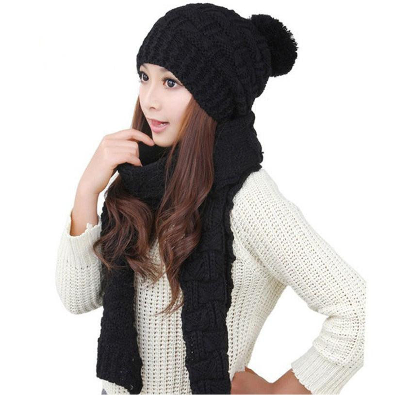 1Set Women Scarf Hats Warm Winter Woolen Knit Shawl + Beanie