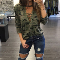 Oversized Women's Long Sleeve Lace Up V Neck Camouflage Tops