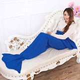 7 Colors Yarn Knitted Mermaid Tail Blanket Super Soft Handmade