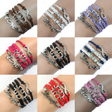 10 Colours Infinity Love Puzzle Piece Autism Awareness Bracelet Handmade Leather