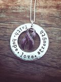 "Cancer Awareness Necklace ""faith hope love strength"""