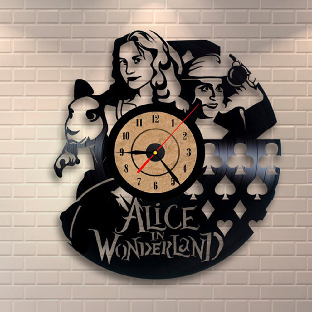 Vinyl Record Wall Clock Alice in Wonderland