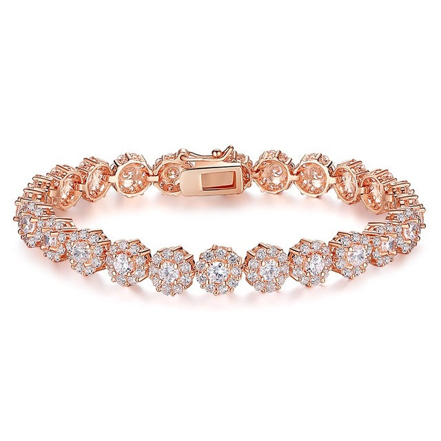 7 Colors Rose Gold Color Chain Link Bracelet Shining AAA Cubic Zircon Crystal