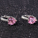Silver 4 Color Stones Heart Shape AAA Zircon Stud Earring