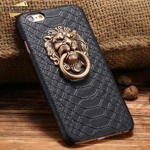 KISSCASE For iPhone 6 S Plus Animal Case Cool Snake Skin Metal Lion Shockproof Stand