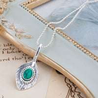 Feather Green Gem Stone Necklace 45.5cm(17 7/8