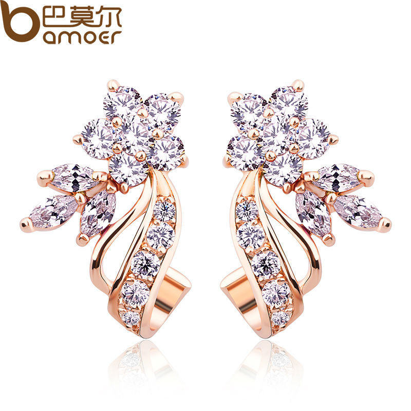 Gold Color Stud Earrings with Flower Shape White/Multicolor AAA Zircon