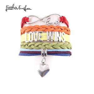 Infinity Love Wins Heart Charm Awareness Bracelet