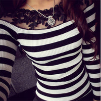 Women's Lace Knitted Long Sleeve Striped Top